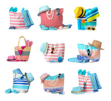Set Of Stylish Beach Accessories On White Background