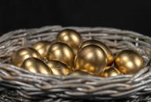 Golden Eggs Lie In A Silver Basket, Close-up