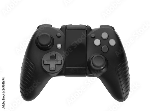 Modern video game controller isolated on white, top view Poster Mural XXL