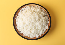 Bowl Of Boiled Rice On Color B...