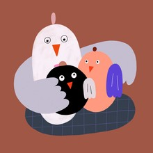 Colourful Bird Family Cuddling