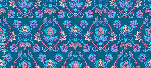 Stampa su Tela Textile and wall traditional Turkish floral colorful ornament on blue background