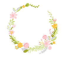 Spring Flower Herbs Wreath. Fl...