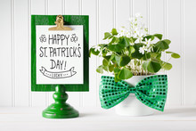 Saint Patricks Day Message Board With Shamrock In White Pot
