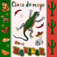 Illustration Of The Design_4_of The Flag Sticker On The Mexican Theme Of Cinco De Mayo Celebration