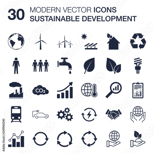 Sustainable development icons set (ecology, renewable energy, global warming concern, environmental protection, recycling) quality vector scalable with flat design for web or print - fototapety na wymiar