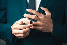 Young Business Man Hand Ring