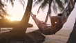 tropical getaway, tourist relaxing in beach hammock, exotic retreat