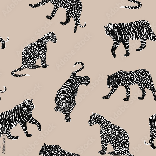 obraz PCV Black white animal seamless beige background