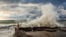 Storm Waves Over A Pier In The Adler, Sochi
