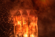 Rocket Engines And Fire Duting The Missile Launch At Night, Close Up Conceptual Image. Elements Of This Image Furnished By NASA.