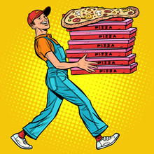 Young Man Pizza Boy, Food Delivery