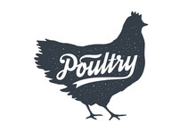 Chicken, Hen, Poultry. Lettering. Vintage Lettering, Retro Print
