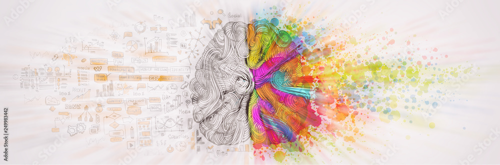 Fototapety, obrazy: Left right human brain concept, textured illustration. Creative left and right part of human brain, emotial and logic parts concept with social and business doodle illustration of left side, and art