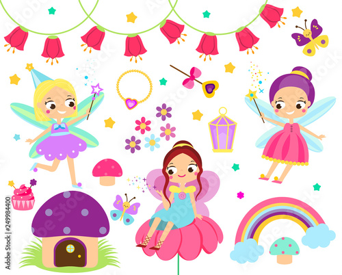 Cute Fairy set. Collection of cartoon fairy tale design elements. Elf, flowers, mushrooms and other clip art for children girls design