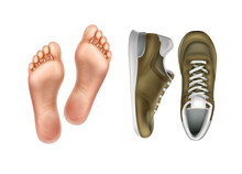Vector Illustration Of Left And Right Foot Soles For Footwear, Pair Of Sport Shoes Isolated On Background