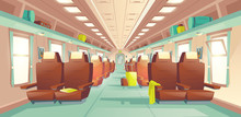 Long Distance Travel, Subway Train Spacious Wagon Interior Cartoon Vector With Rows Of Comfortable Double Seats, Baggage Bags On Shelves Illustration. Public Railroad Transport Concept Design Element