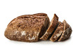 Leinwandbild Motiv Cut loaf of fresh bread on white background