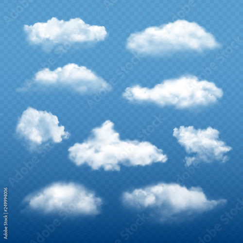 Fototapeta Cloudy sky realistic. Beautiful white clouds condensation collection vector weather elements. Illustration of cloudy meteorology, cumulus cloudscape obraz