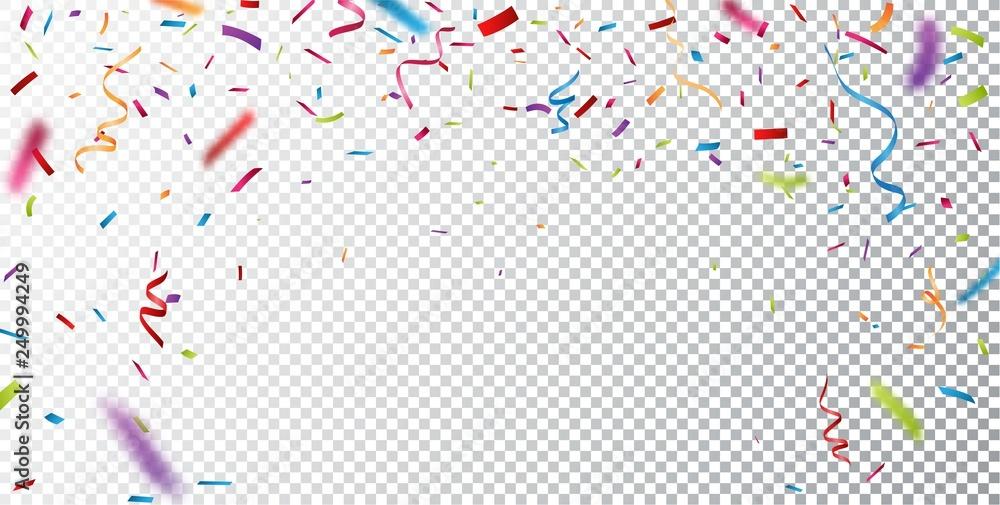 Fototapeta Colorful confetti on transparent background