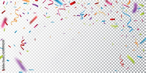 Valokuva  Colorful confetti on transparent background