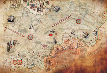 3D Wallpaper Design With An Old Ship Of Piri Reis Map For Mural Print