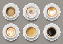 Coffee Mug Top View. Cappuccino Espresso Latte Milk Brown Coffee Vector Realistic Template. Cappuccino And Latte, Espresso Coffee Illustration