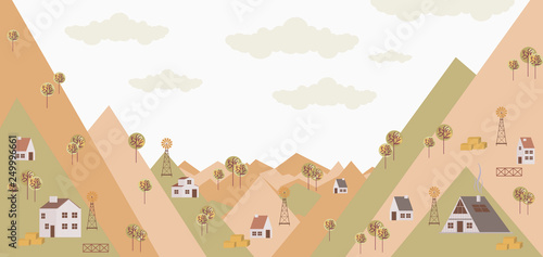 Spring background. Poster with spring landscape and houses in the Scandinavian style. Editable vector illustration
