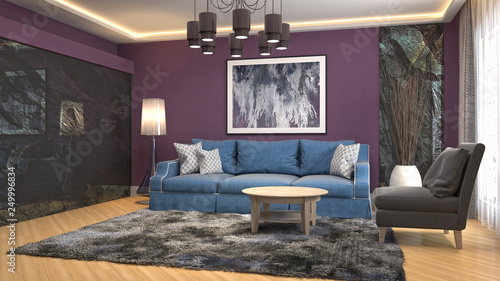 Fototapety, obrazy: Interior of the living room. 3D illustration