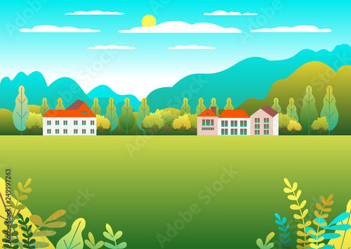 Aluminium Prints Green coral Rural valley Farm countryside. Village landscape with ranch in flat style design. Landscape with house farm family, barn, building, hills, tree, mountains, background cartoon vector illustration