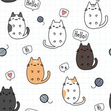 Cute Adorable Kawaii Fat Cat Kitten Laying Down On Grid Cartoon Doodle Seamless Pattern Background Wallpaper