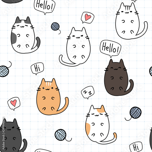 Cute Adorable Kawaii Fat Cat Kitten Laying Down On Grid Cartoon Doodle Seamless Pattern Background Wallpaper Buy This Stock Vector And Explore Similar Vectors At Adobe Stock Adobe Stock