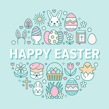 Easter Card Circle Template With Flat Line Icons. Colored Eggs, Basket, Egg Hunt, Rabbit, Spring Flowers, Cake Round Vector Illustration. Thin Signs Poster For Christianity Celebration