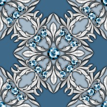 Seamless Luxury Pattern With Gems And Silver Scrolls