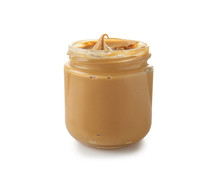 Tasty Peanut Butter In Jar On ...