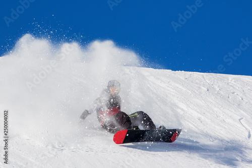 caduta con snowboard in neve fresca Tableau sur Toile