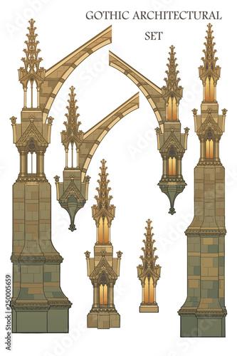 Vászonkép Set of the medieval gothic architectural elements