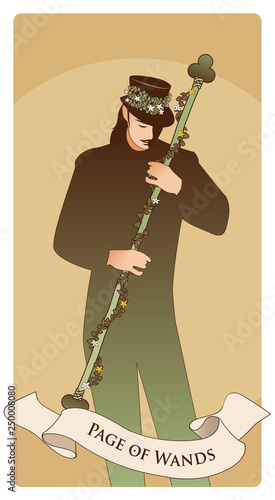 Fotografie, Obraz Page or knave of swords with top hat holding a sword with flowers and leaves