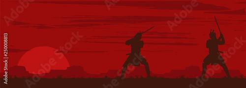 Fotografia Silhouette of two Japanese Samurai sword fighting, Vector Illustration