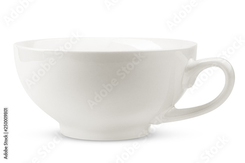 Foto  empty cup with plate, isolated on white background, clipping path, full depth of