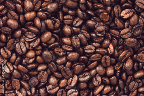 Billede på lærred Roasted coffee beans background
