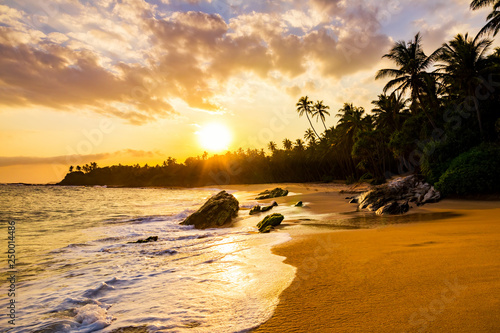 Poster Tropical beach Romantic sunset on a tropical beach with palm trees