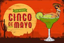Cinco De Mayo, Traditional Mexico Holiday, A Mexican Girl In A Margarita Cocktail, Vector