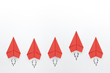 Leinwanddruck Bild - Red paper planes on white background. Business competition concept.