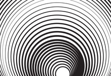 Black And White Concentric Line Circle Background Or Ripple Effect