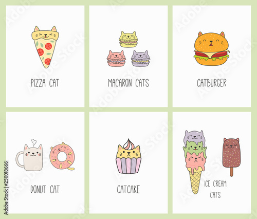 Printed kitchen splashbacks Illustrations Set of kawaii cards with foods with cat ears, macarons, pizza, burger, ice cream, cupcake, donut, coffee. Isolated objects. Hand drawn vector illustration. Line drawing. Design concept kids print.