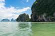 Landscapes of Phang Nga National Park sea and the limestone mountains