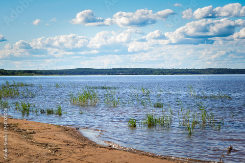 Blue sky with Cumulus clouds over the Lake Ladoga shore Fototapeta