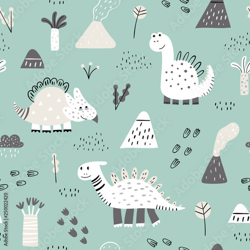 fototapeta na drzwi i meble Seamless pattern with hand drawn cute dino. Creative vector childish background for fabric, textile, nursery wallpaper. Vector Illustration.