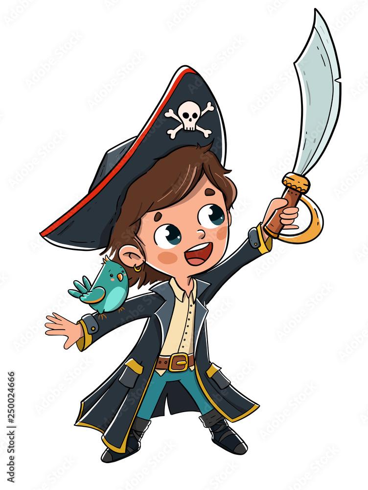 Fototapeta Niño disfrazado de pirata con un loro en el brazo
